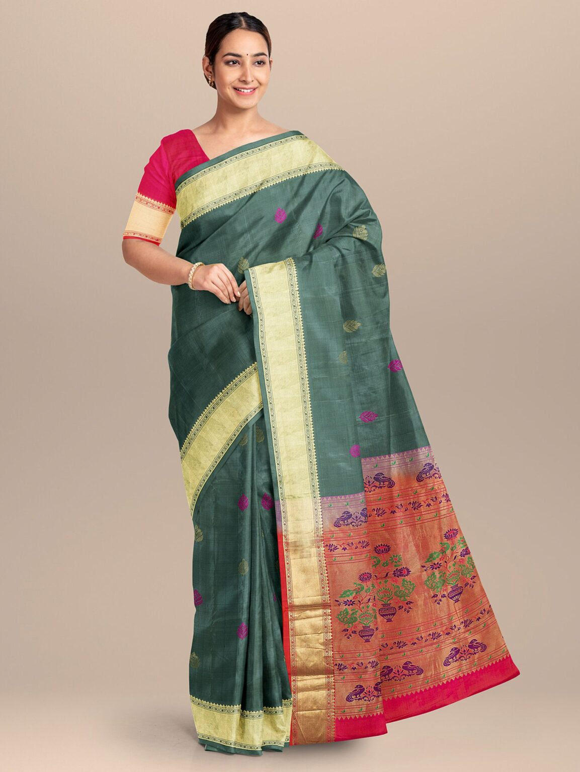 Grey Kanchipuram Silk Saree with Multi Colored Woven Pallu