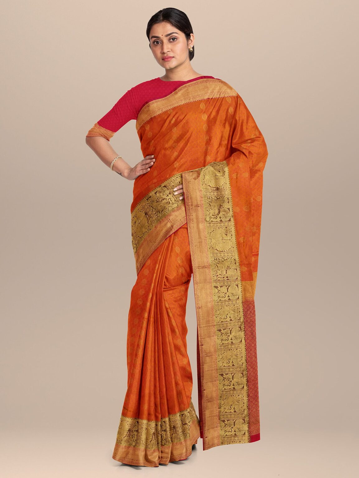 Orange and Pink Two Toned Kanchipuram Silk Woven Saree