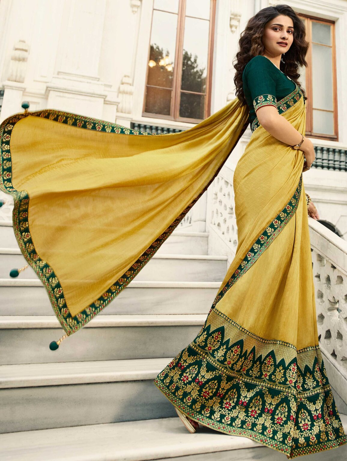 Prachi Desai Yellow Art Silk Saree with Contrast Floral Embroidered Border