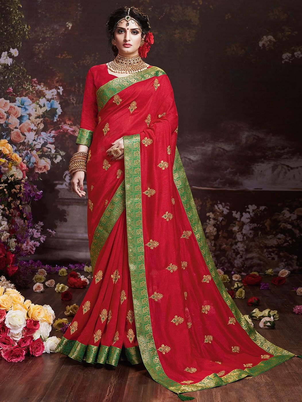 Red Art Silk Saree with Embroidered Butta and Contrast Border