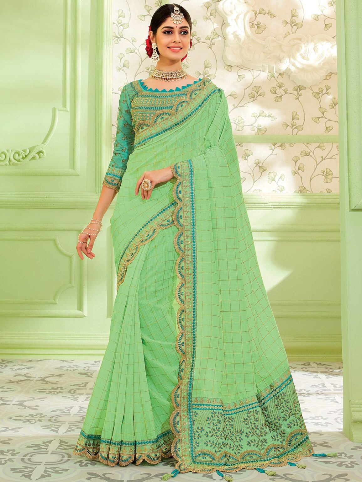 Light Green Silk Designer Checks Saree with Embroidered Cutworked Border