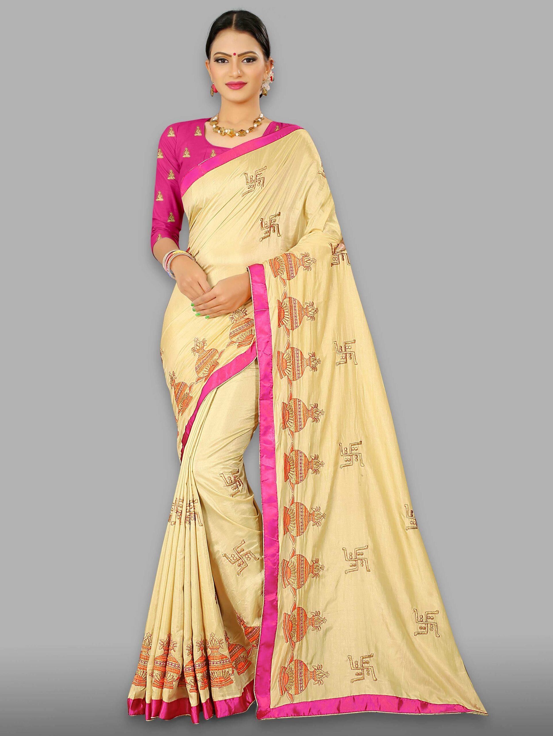Cream Art Silk Embroidered Kalash and Swastik Motif Saree