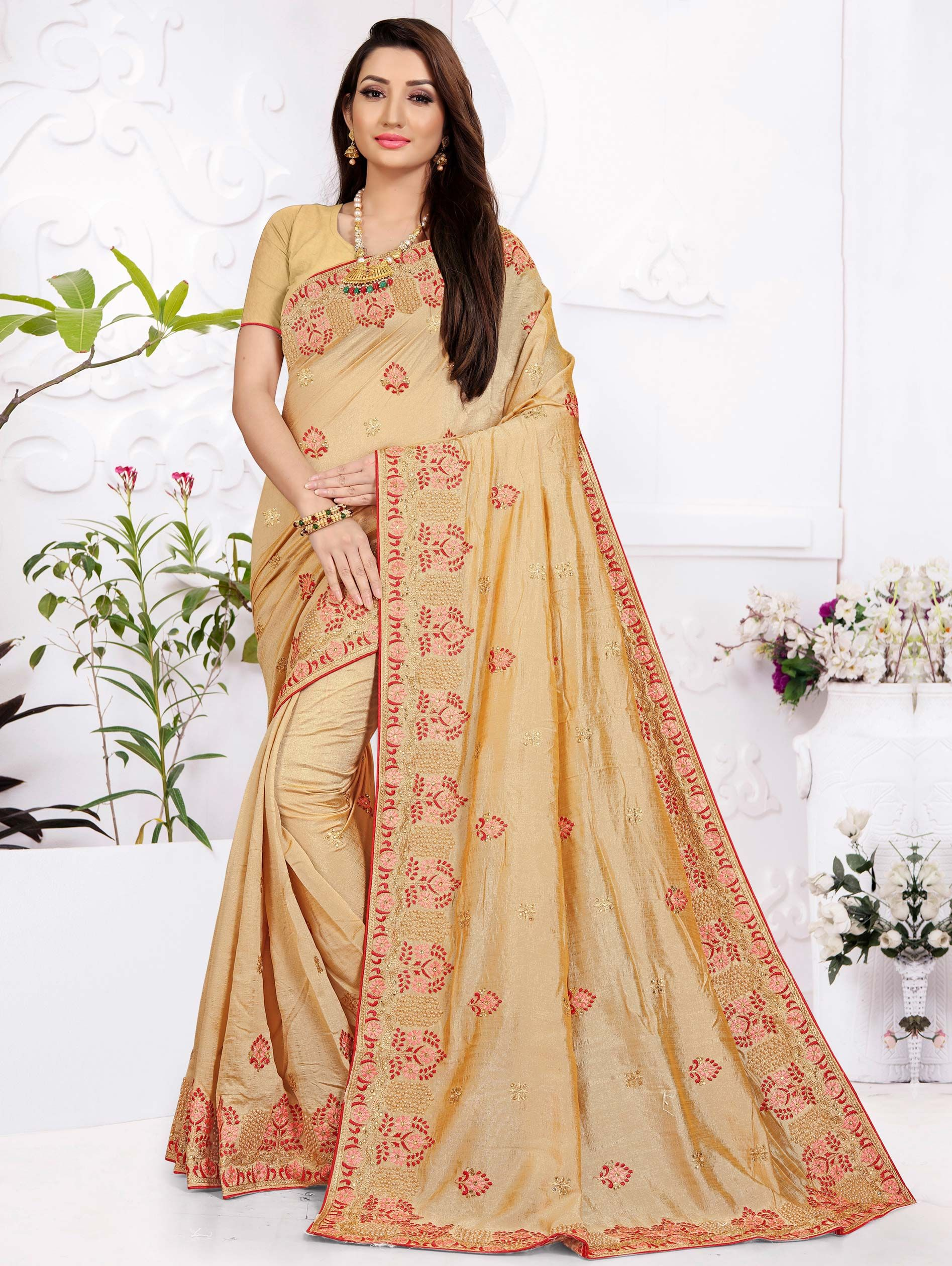 Beige Art Silk Embroidered Saree with Pearl Work