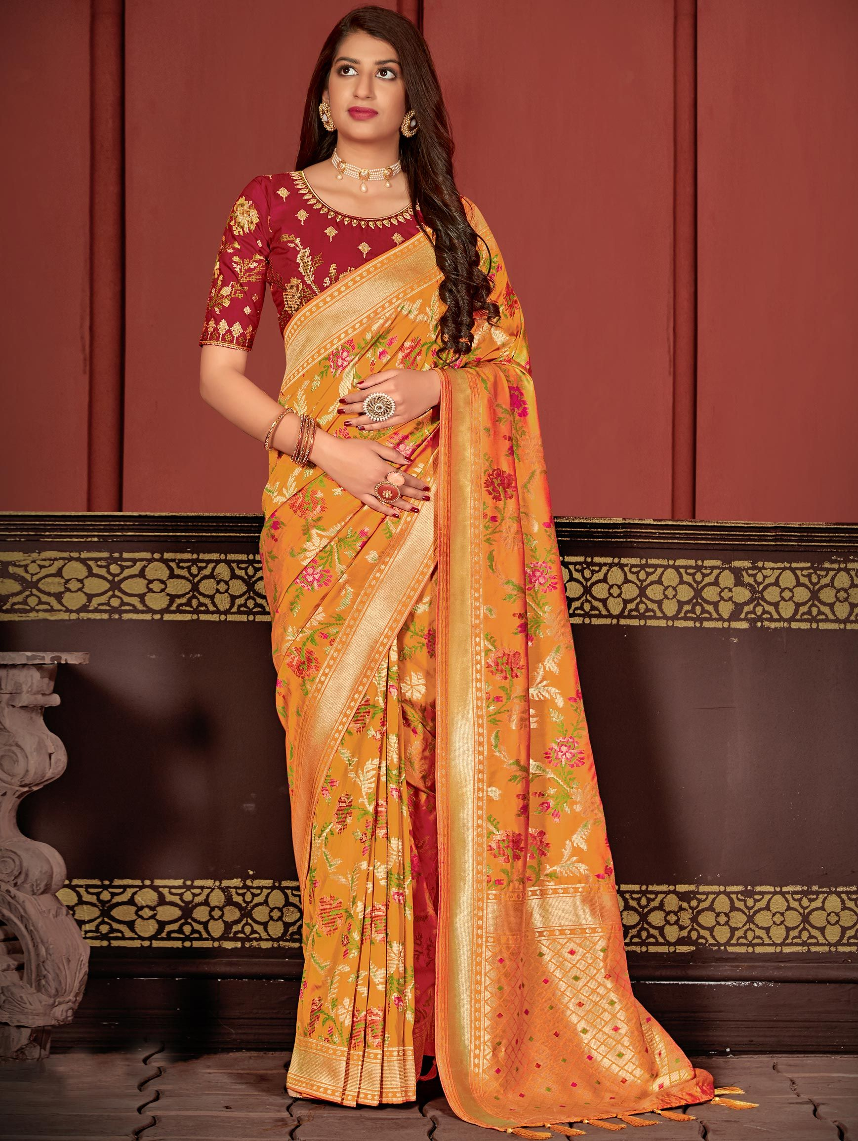 Mustard Banarasi Silk Traditional Woven Saree with Zari Gold Border and Pallu