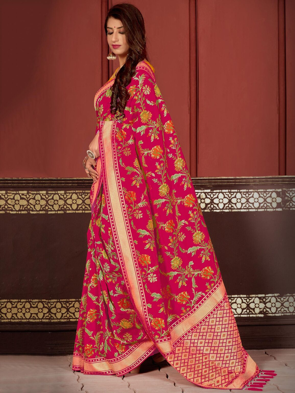 Rani Pink Banarasi Silk Traditional Woven Saree with Zari Gold Border and Pallu