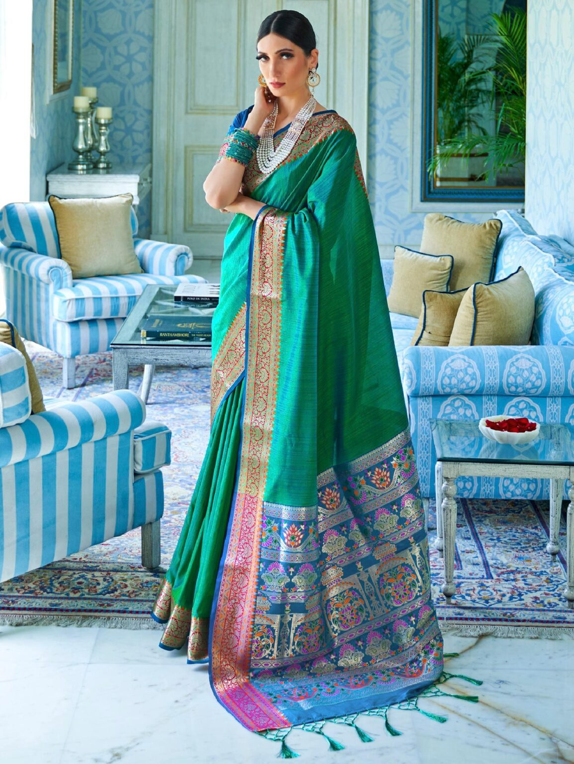Green Art Silk Saree with Woven Border and P