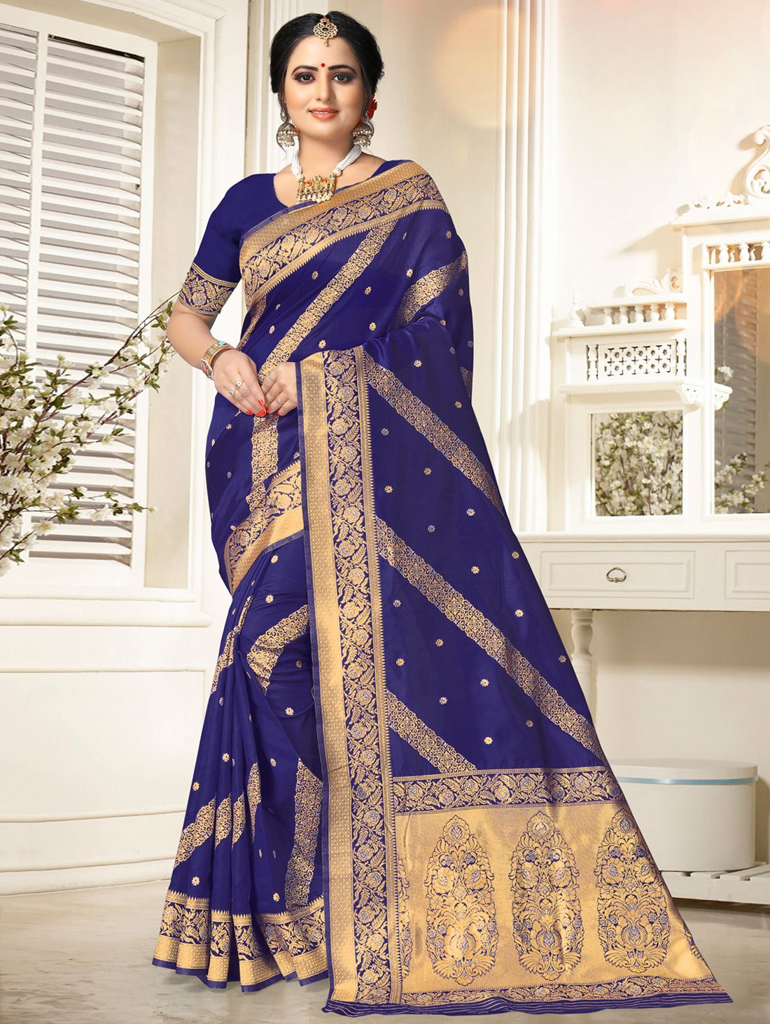 Blue Art Silk Woven Saree with Floral Border and Pallu