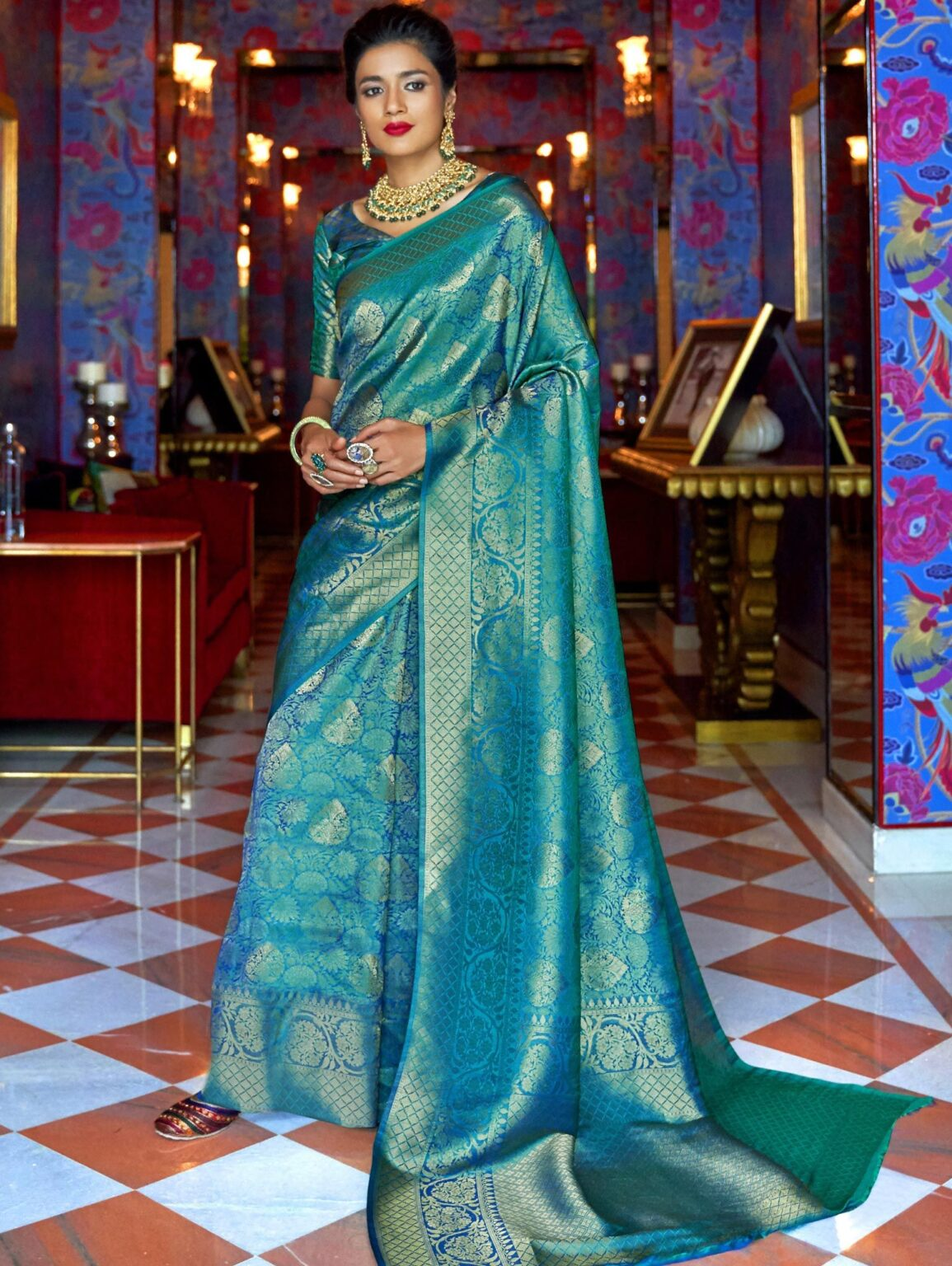 Blue Banarasi Silk Traditional Saree with Weaving