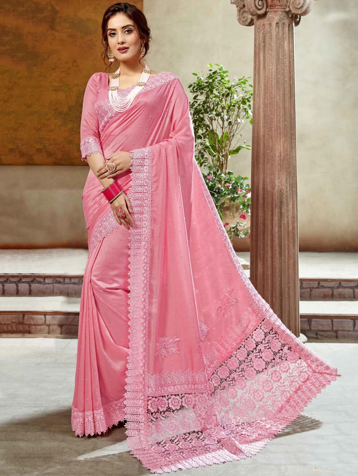 Pink Art Silk Pearl Work Saree with Embroidered Border and Pallu