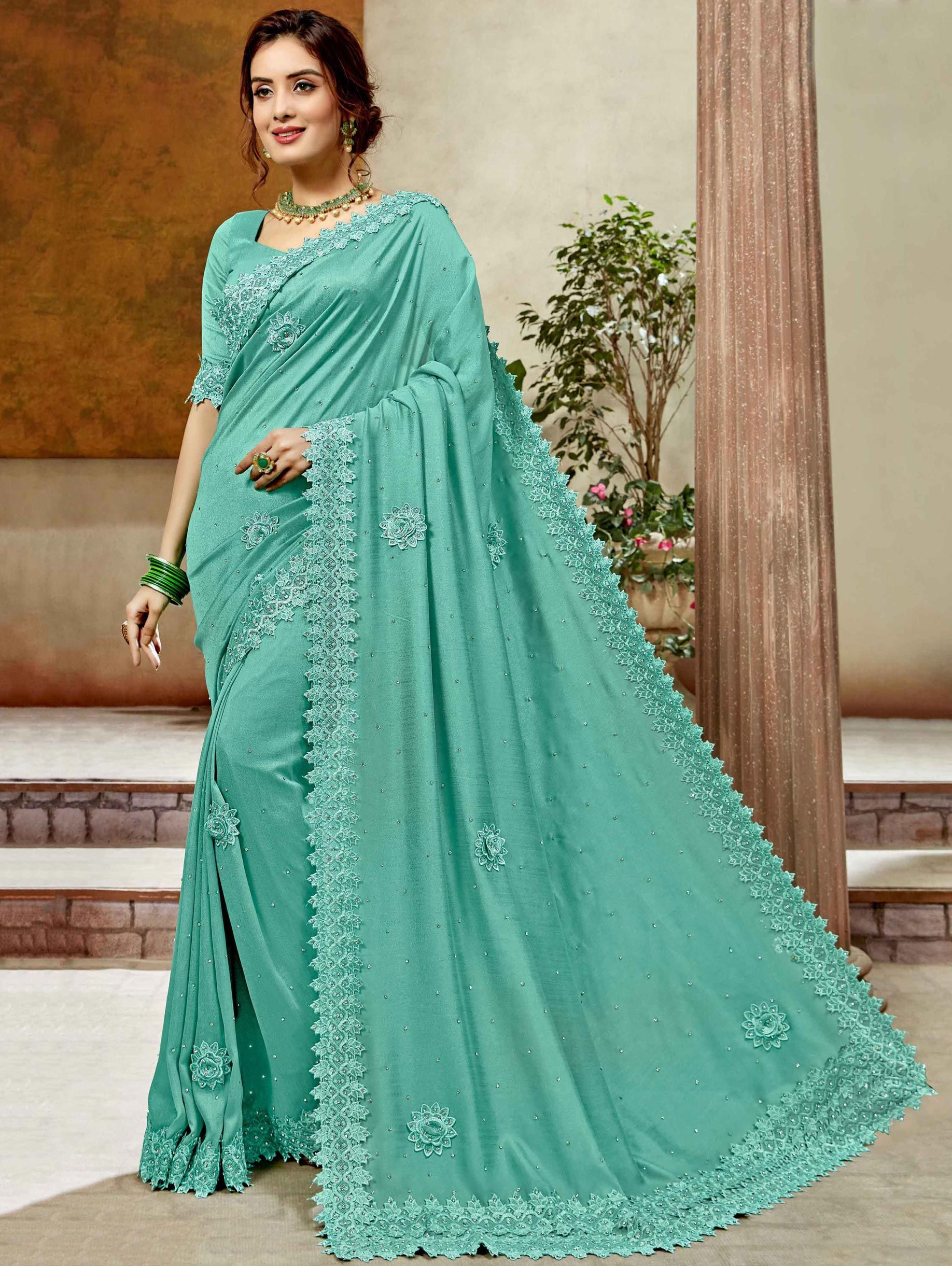 Turquoise Green Art Silk Floral Embroidered Butta Saree