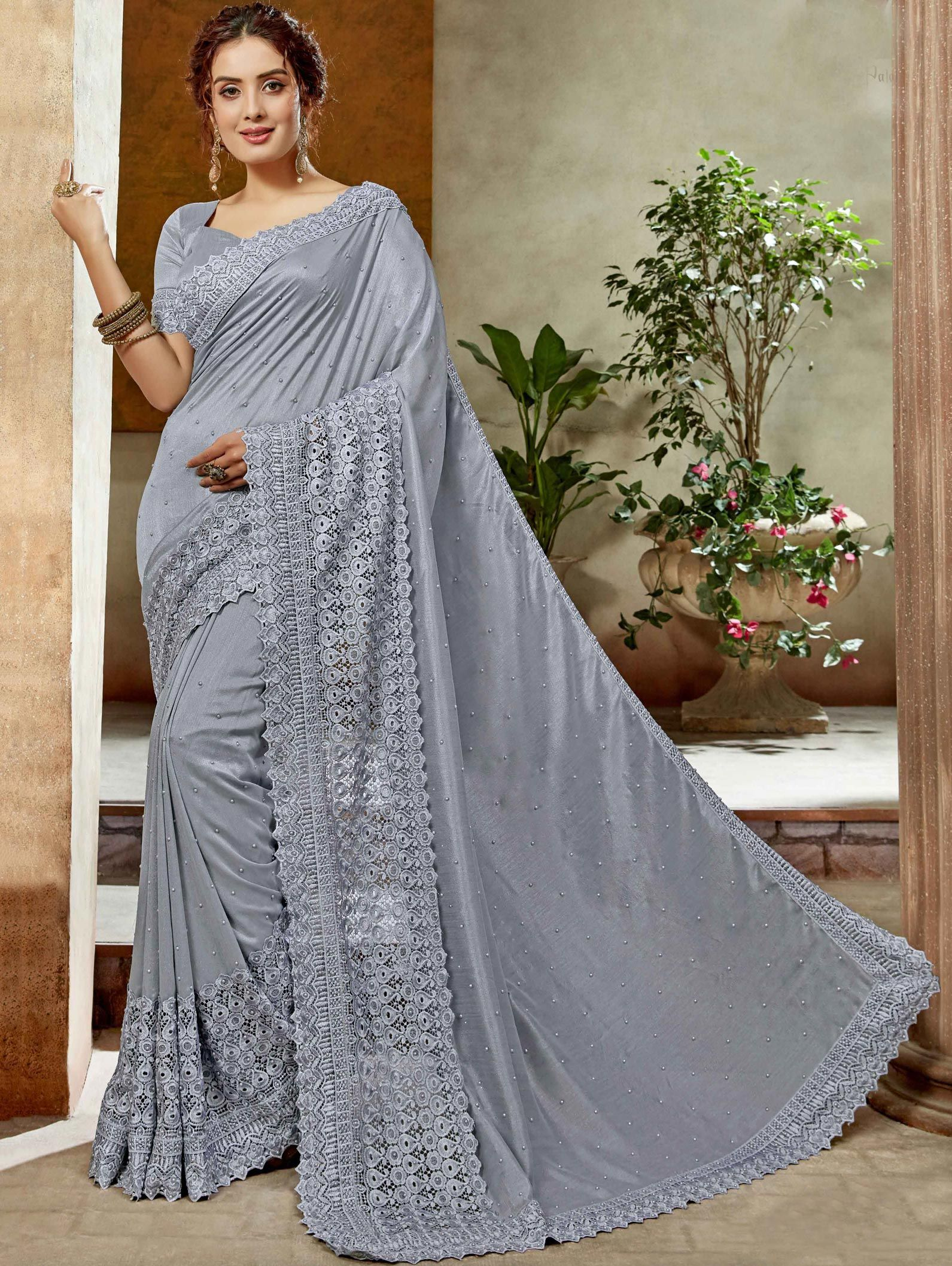 Grey Art Silk Saree with Broad Embroidered Border