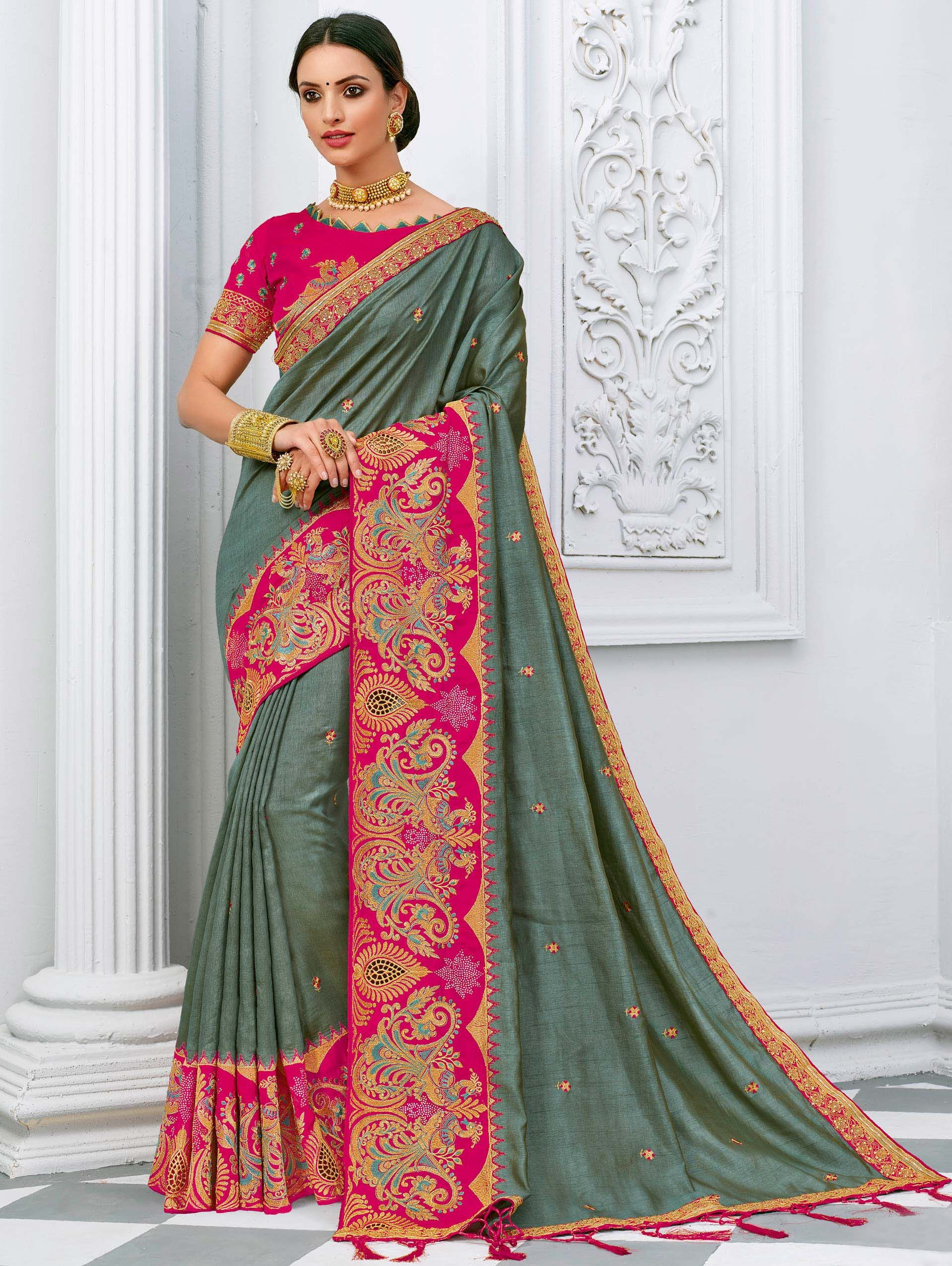 Grey Art Silk Saree with Peacock Motifs Embroidery