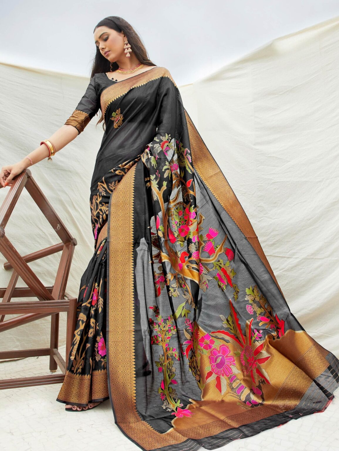 Black Art Silk Woven Saree with Golden Border