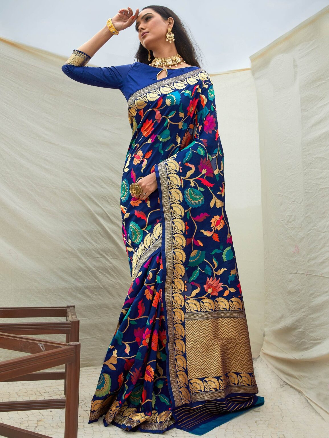 Blue Art Silk Floral Woven Saree with Golden Border and Pallu