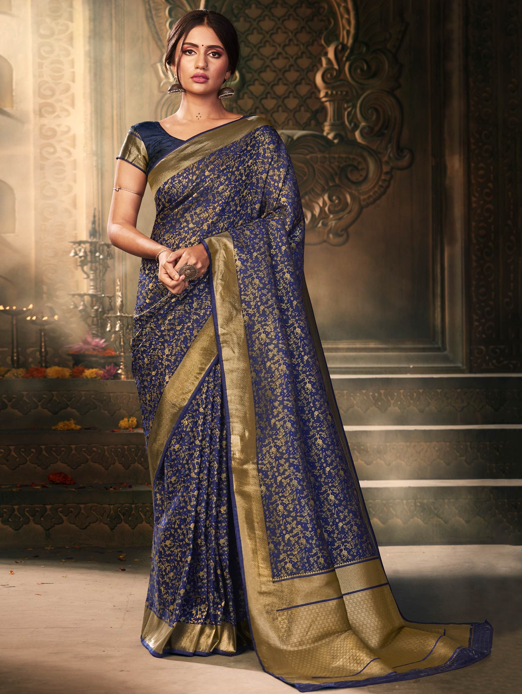 Navy Blue Banarasi Silk Floral Woven Saree with Zari Gold Border and Pallu