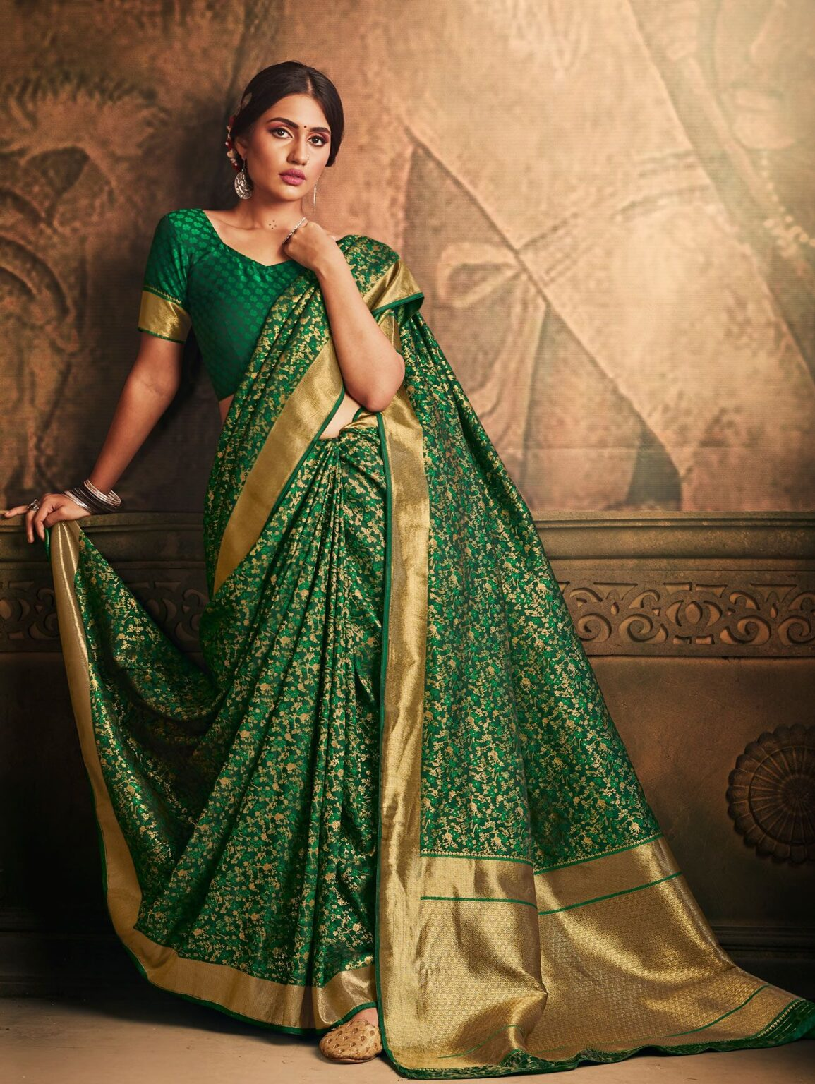 Bottle Green Banarasi Silk Floral Woven Saree with Zari Gold Border and Pallu