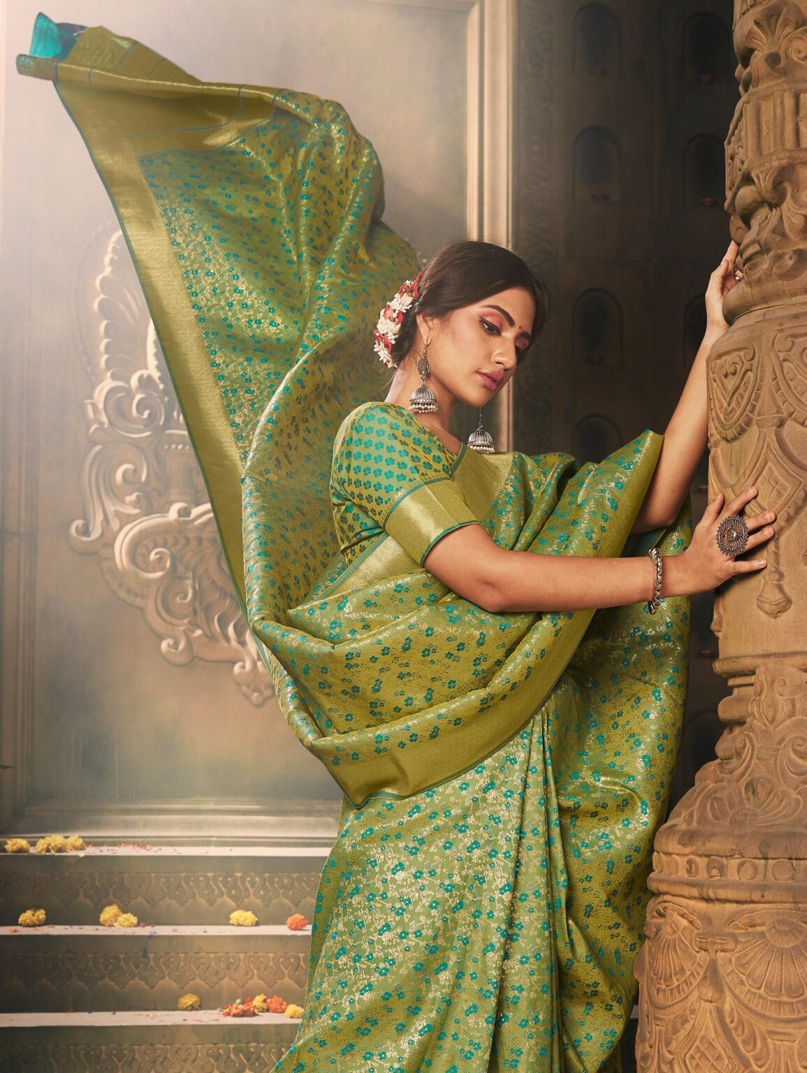 Pista Green Banarasi Silk Floral Woven Saree with Zari Gold Border and Pallu