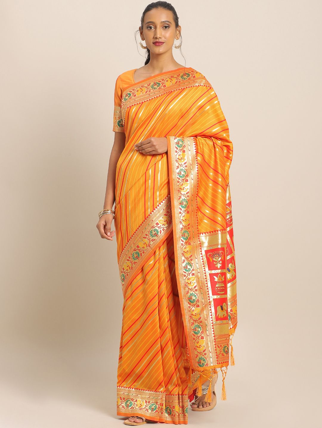 Yellow Banarasi Silk Traditional Woven Leheriya Saree