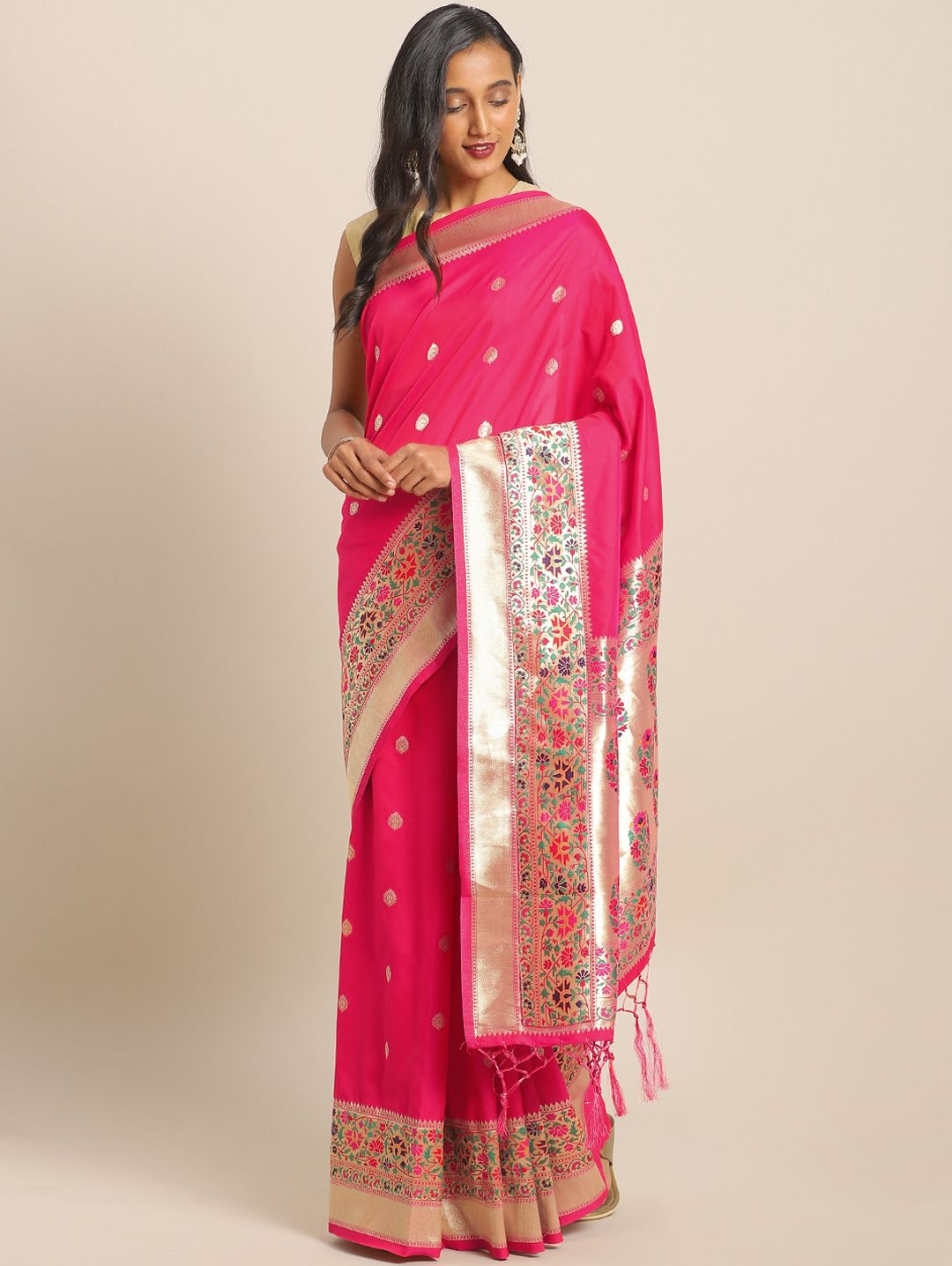 Rani Pink Banarasi Silk Traditional Woven Paithani Saree