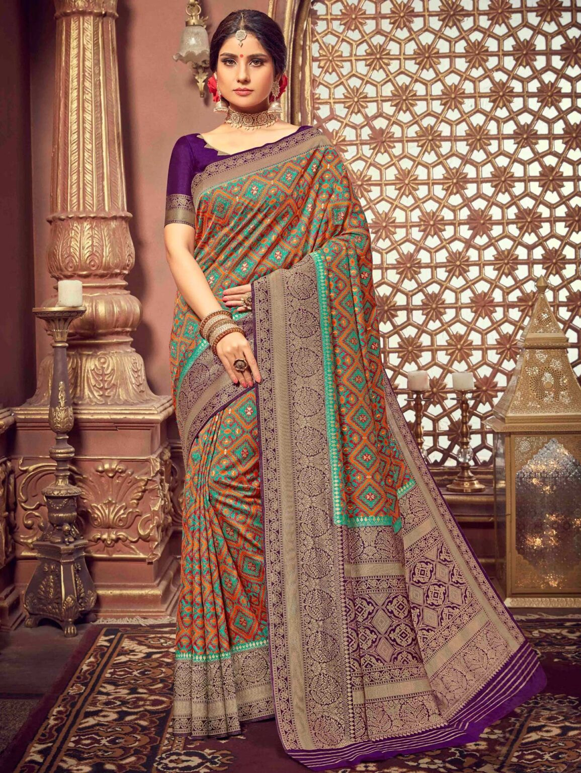 Orange and Multi Colored Art Silk All Over Woven Saree with Contrast Border and Pallu