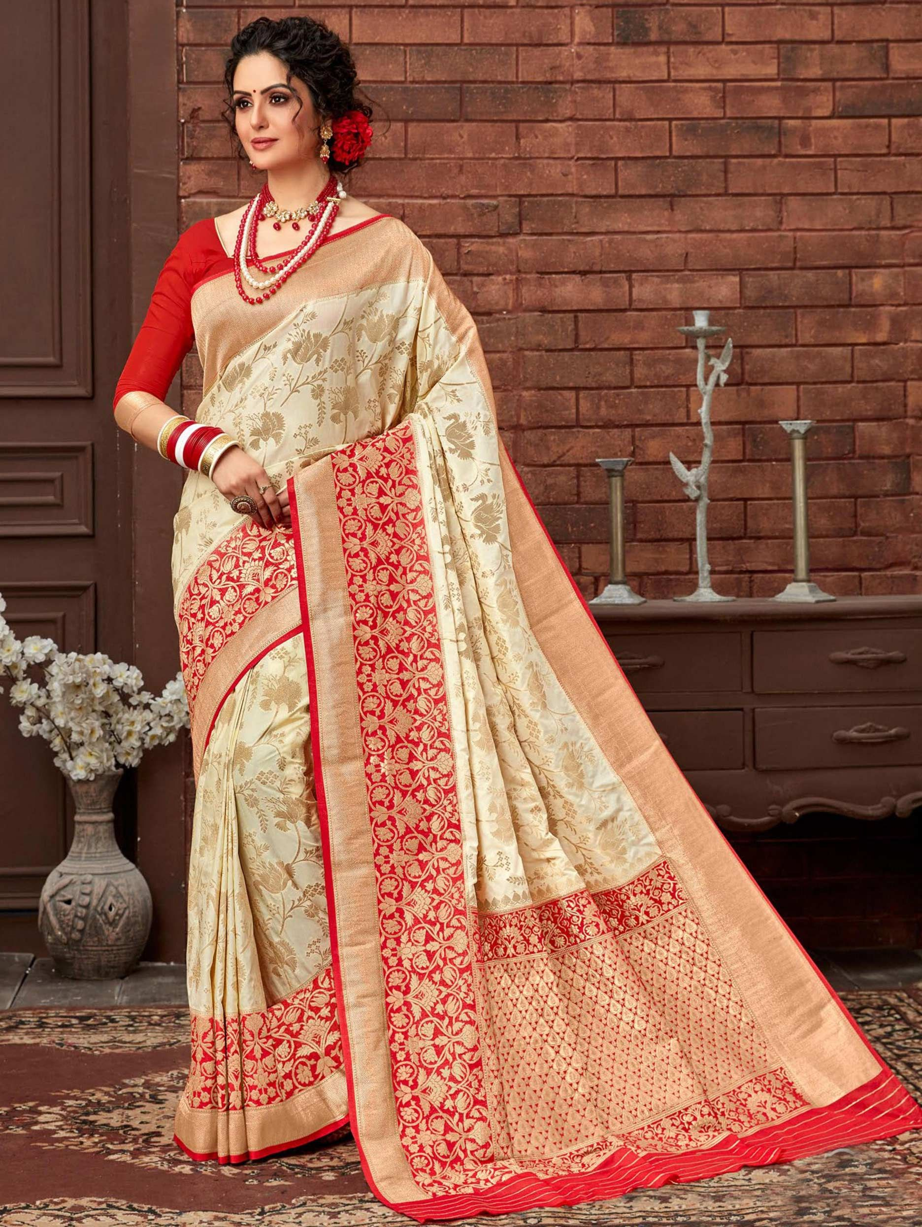 Cream Art Silk Floral Woven Saree with Red Border and Pallu