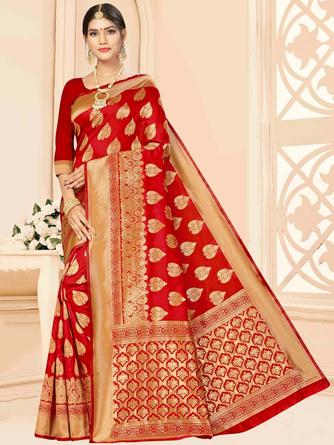 Red Art Silk All Over Woven Saree