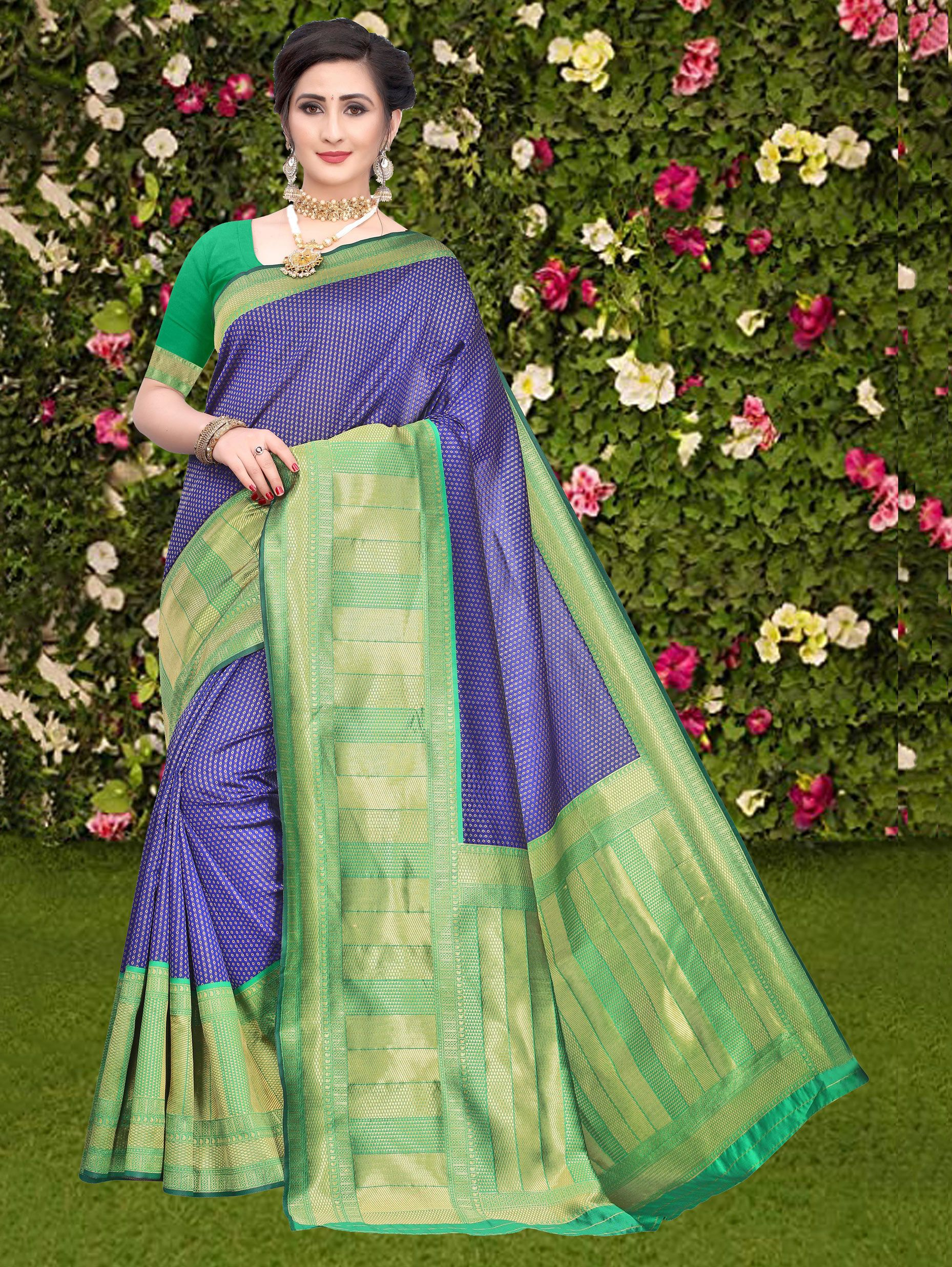 Blue Art Silk Woven Saree with Green Border and Pallu