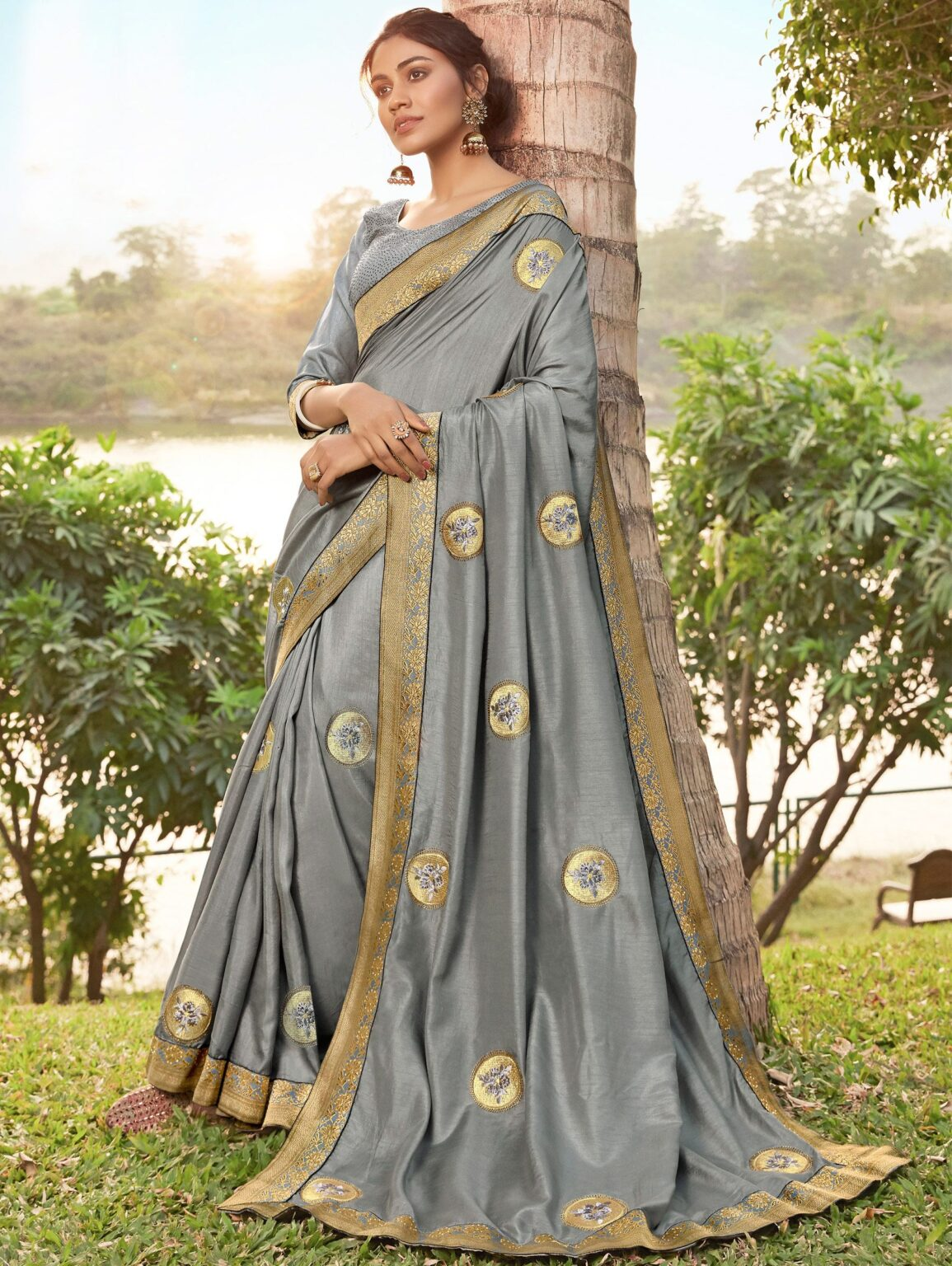 Grey Art Silk Embroidered Butta Saree with Lace
