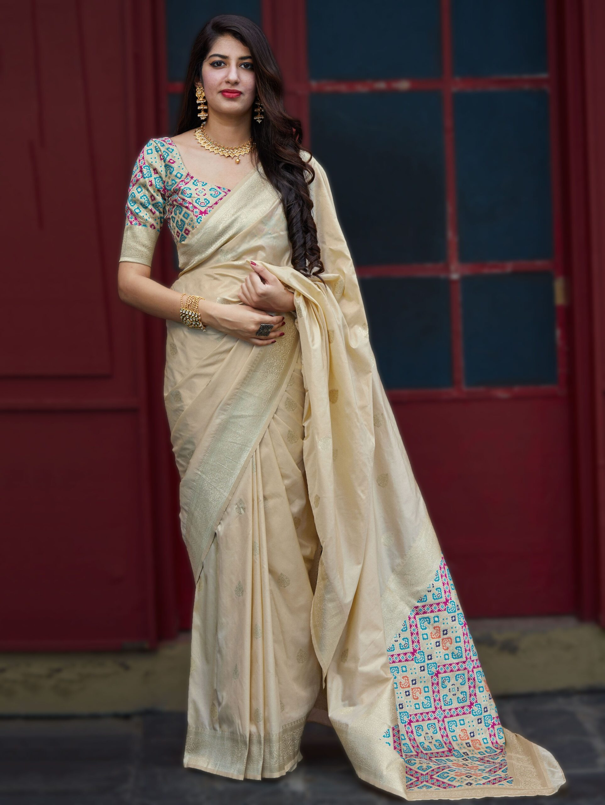 Beige Banarasi Silk Traditional Saree with Woven Pallu