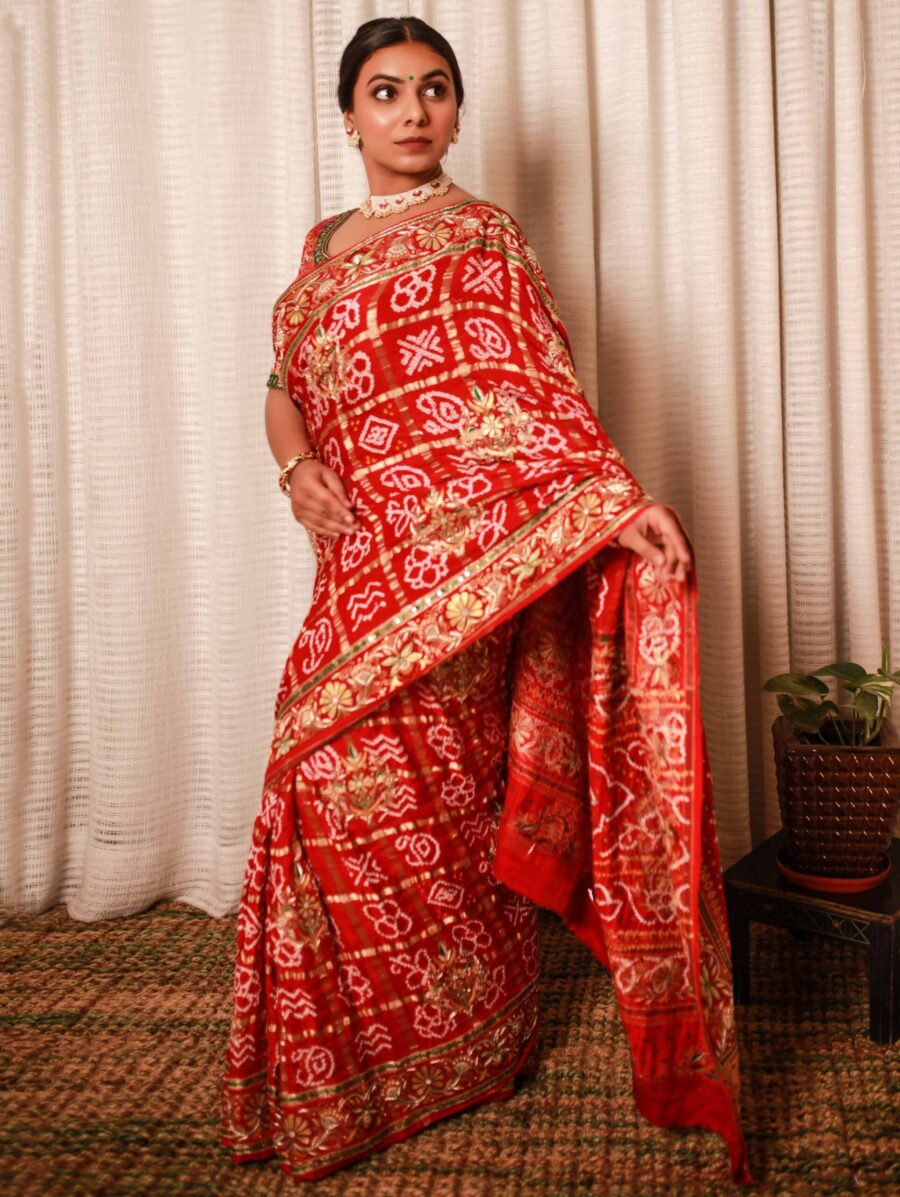 Red Silk Traditional Checks Woven Bandhej Saree with Handwork