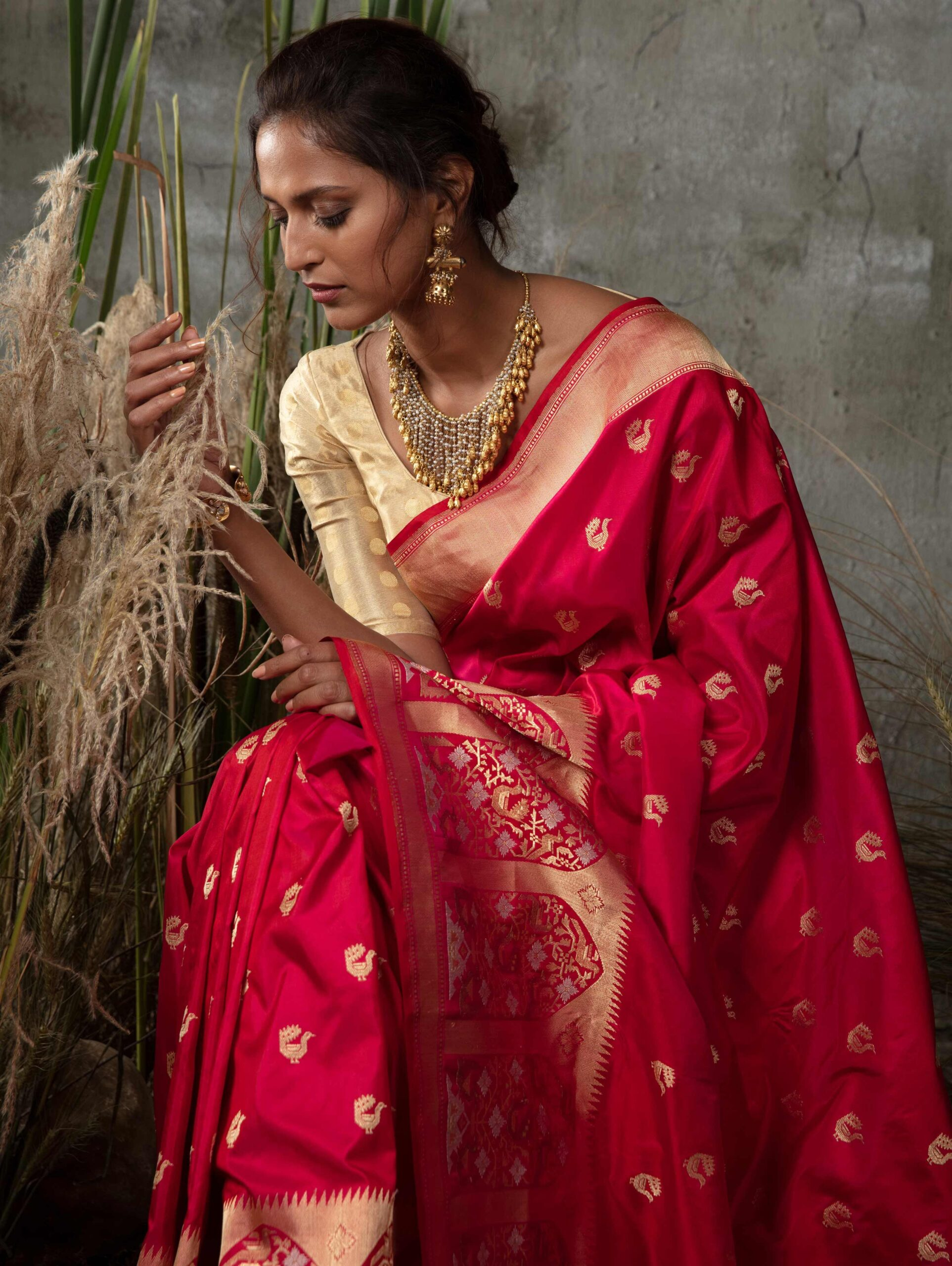 Rani Pink Pure Silk Traditional Saree with Golden Woven Border and Pallu