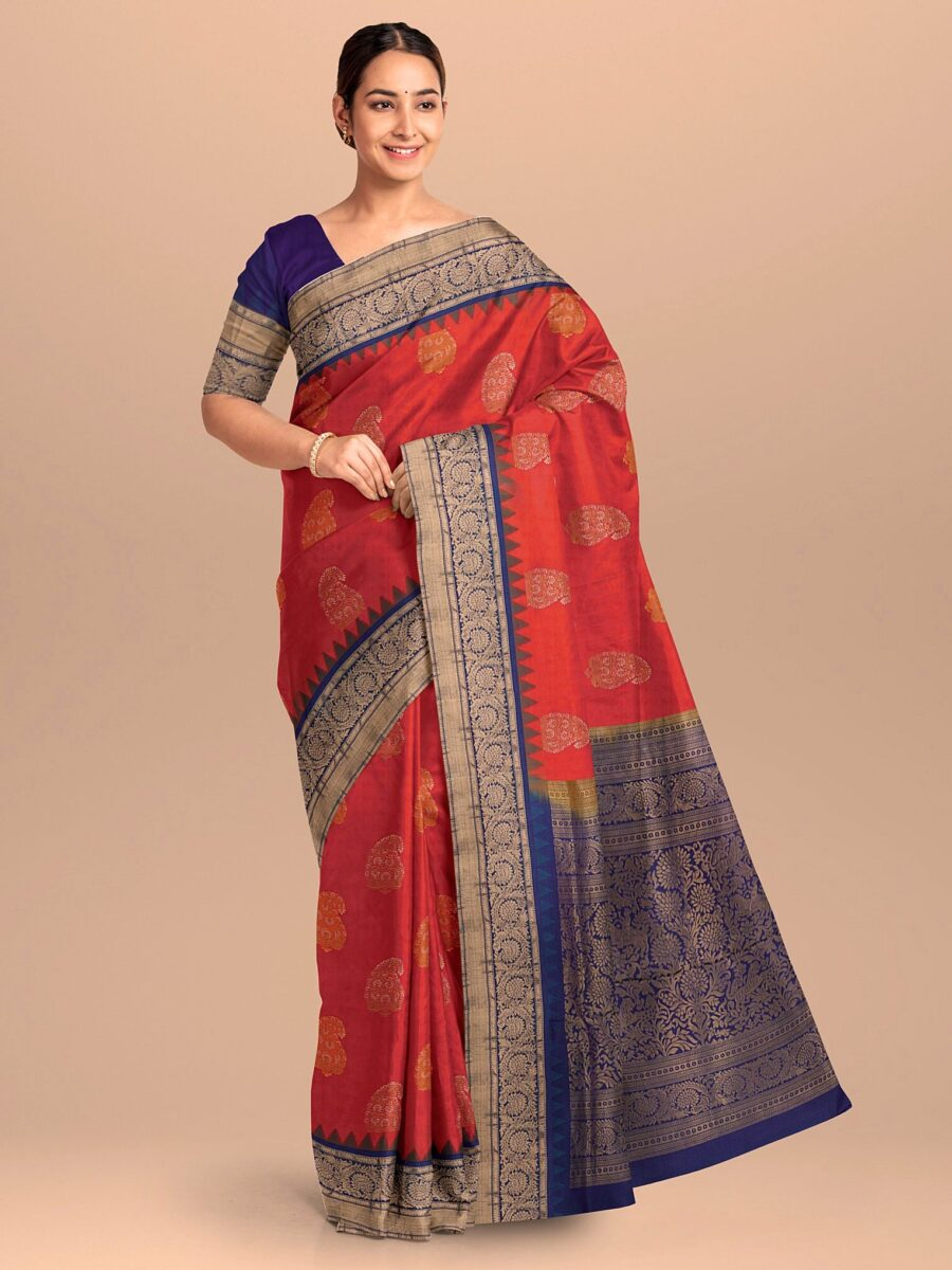 Orange and Pink Two Toned Silk Saree with Contrast Border and Pallu