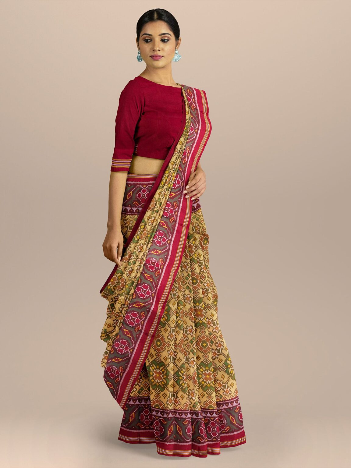 Light Yellow Silk Traditional Patola Woven Saree with Contrast Border and Pallu