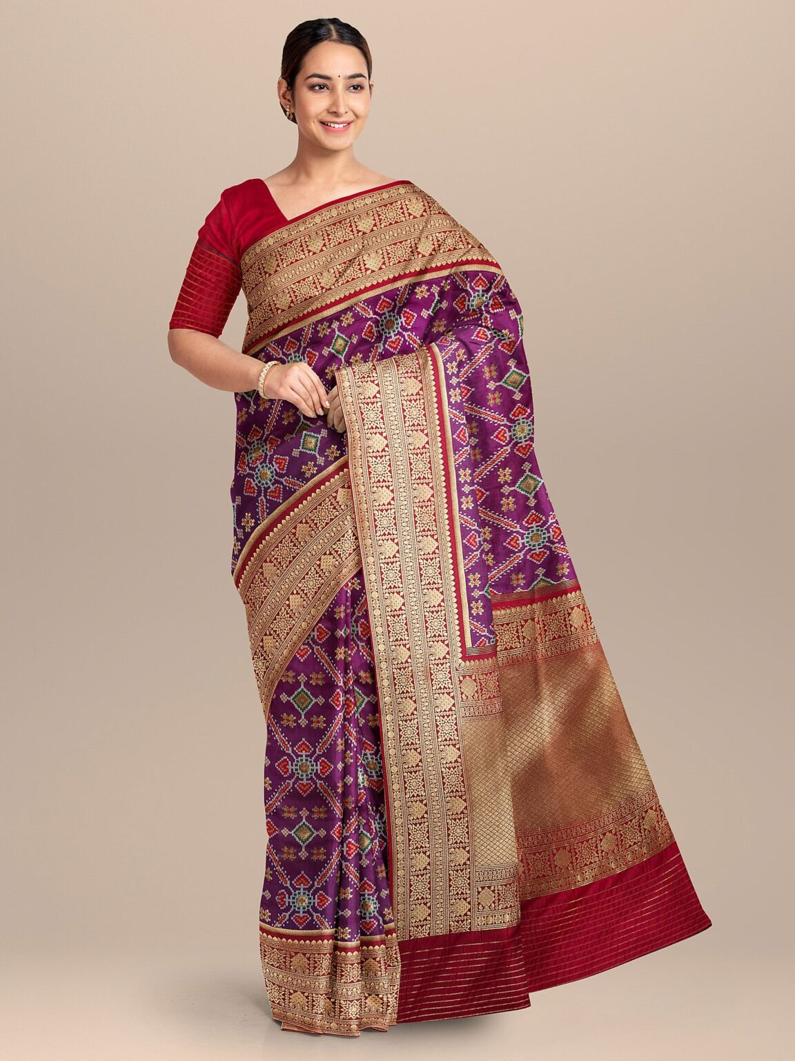 Purple Silk Traditional Woven Saree with Gold Border and Pallu