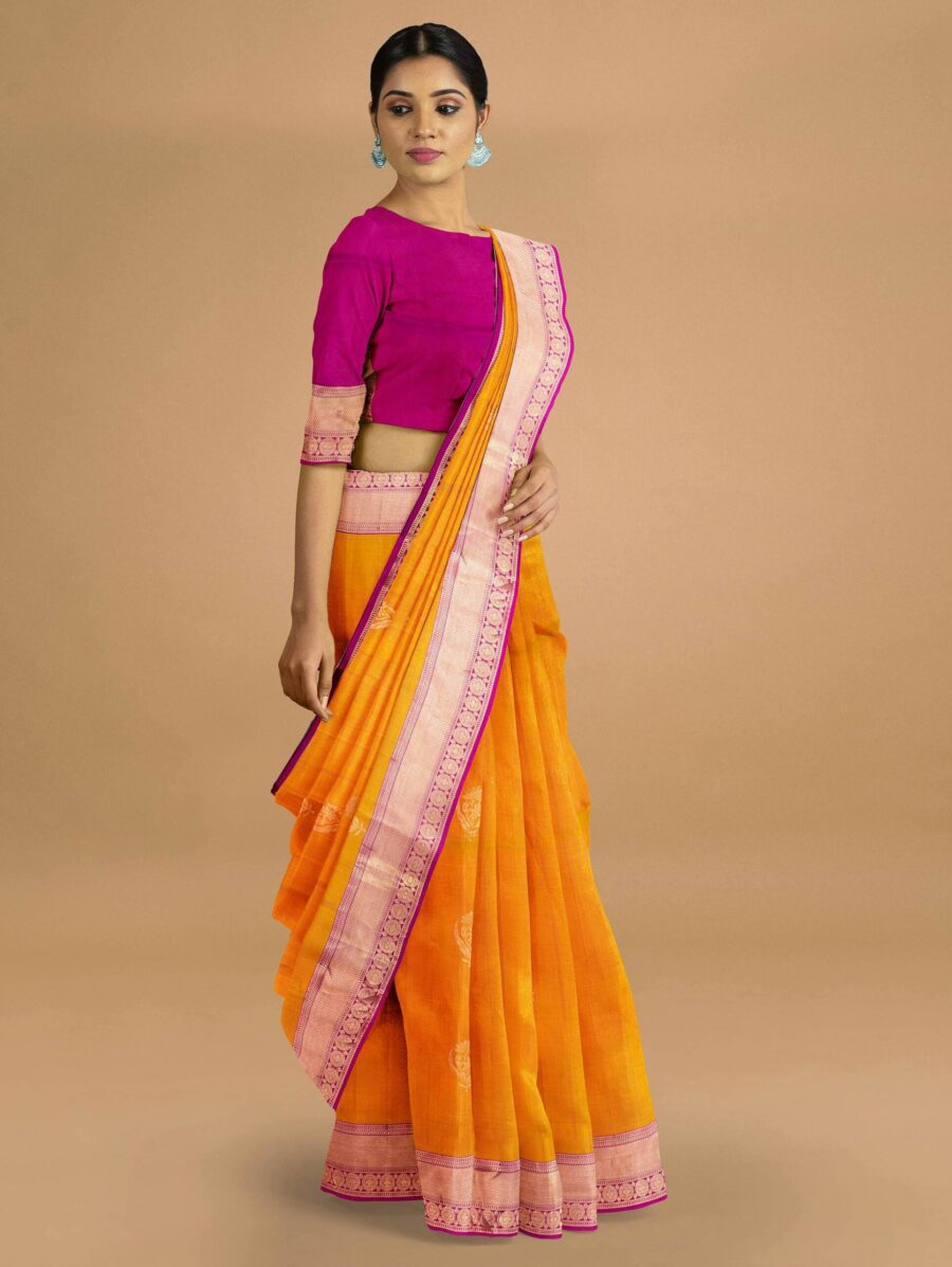 Bright Orange Silk Saree with Contrast Pallu