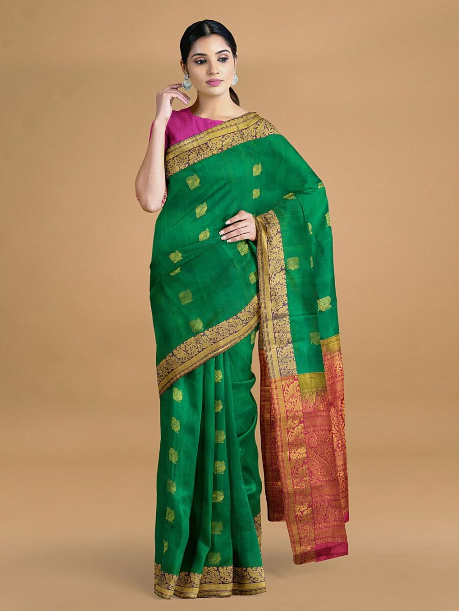Green and Blue Two Tone Silk Saree with Paisley Motifs Contrast Pallu