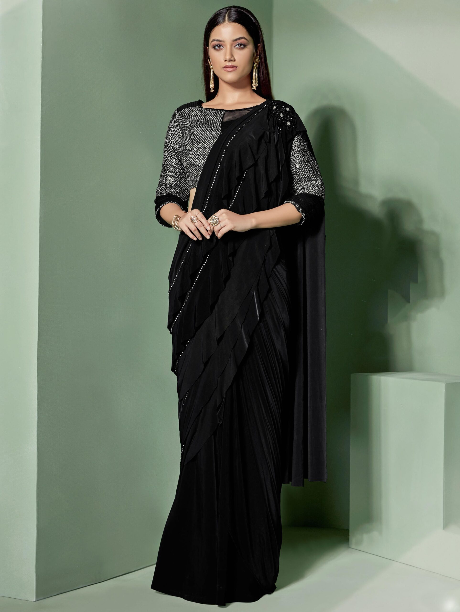 Black Lycra Designer Saree with Ruffle Pallu