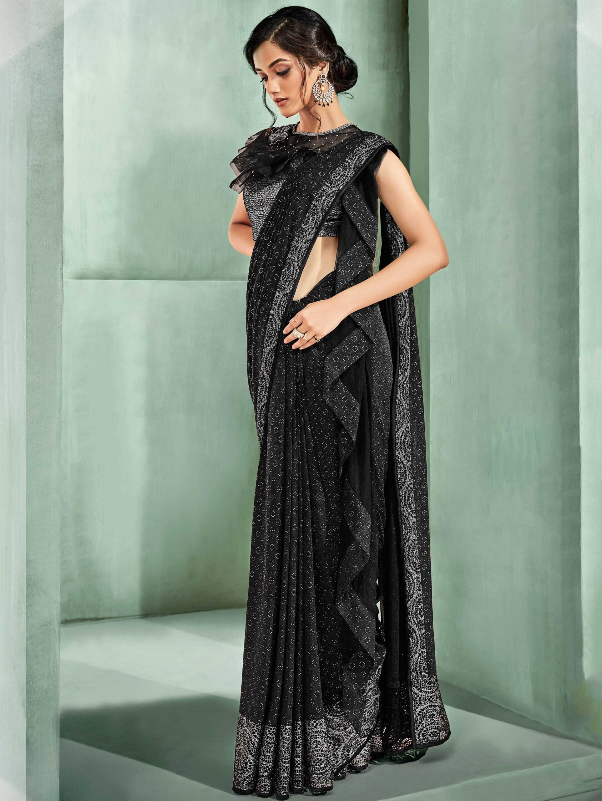 Black Lycra Fancy Saree with Designer Blouse