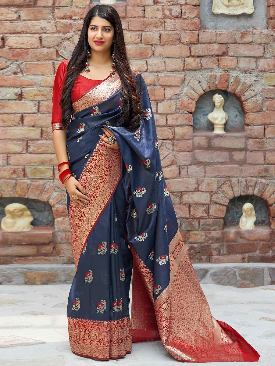 Prussian Blue Banarasi Silk Traditional Saree with Red Border and Pallu