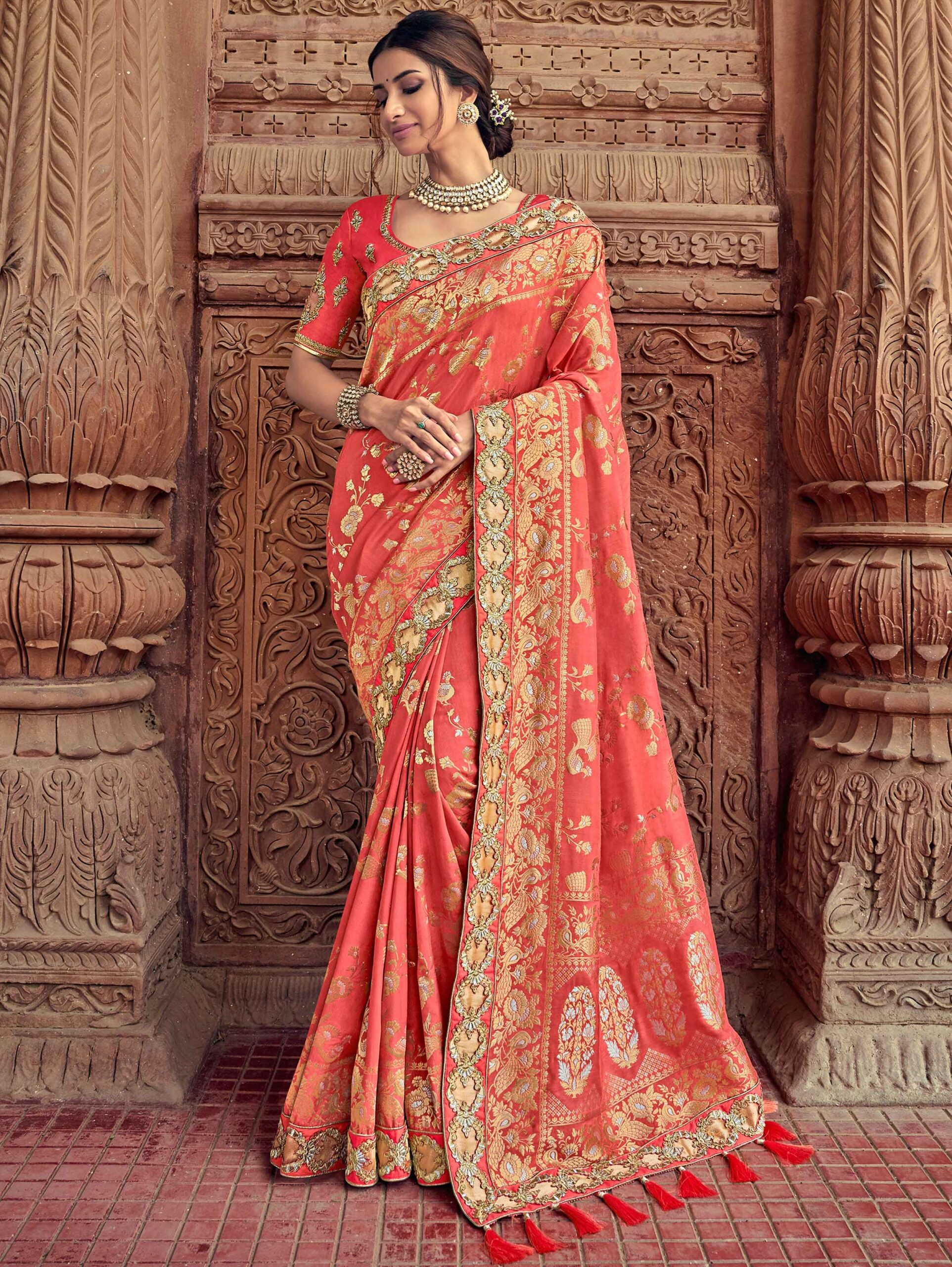 Coral Pink Banarasi Silk Designer Woven Saree with Peacock and Floral Motifs