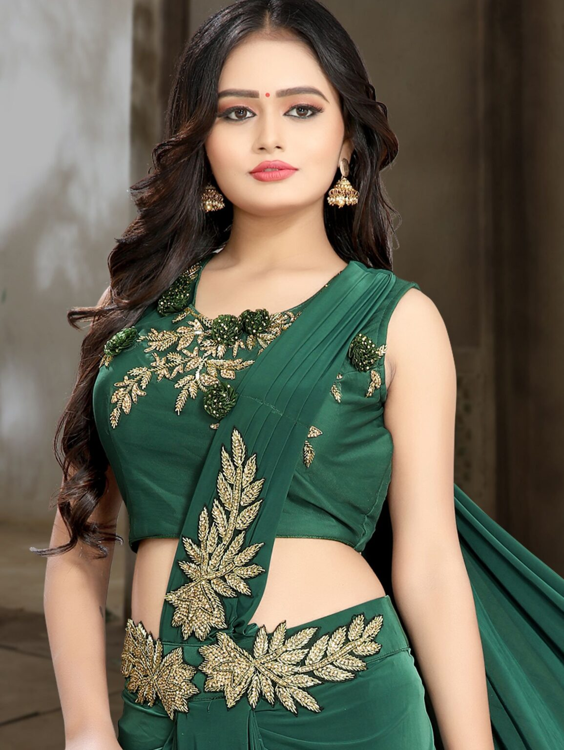 Bottle Green Lycra Pre Stitched Dhoti Style Saree with Patch Work