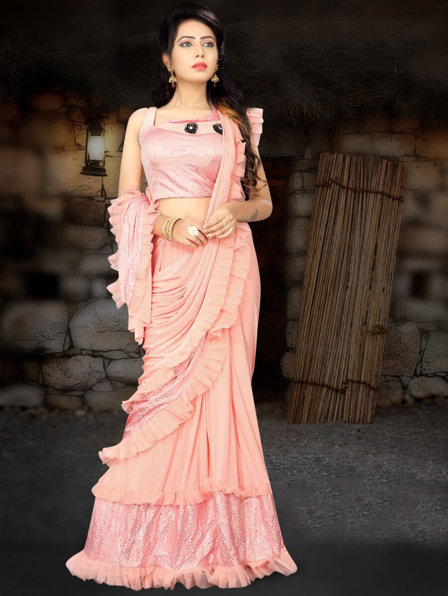 Baby Pink Lycra Pre Stitched Fancy Ruffle Saree with Designer Blouse