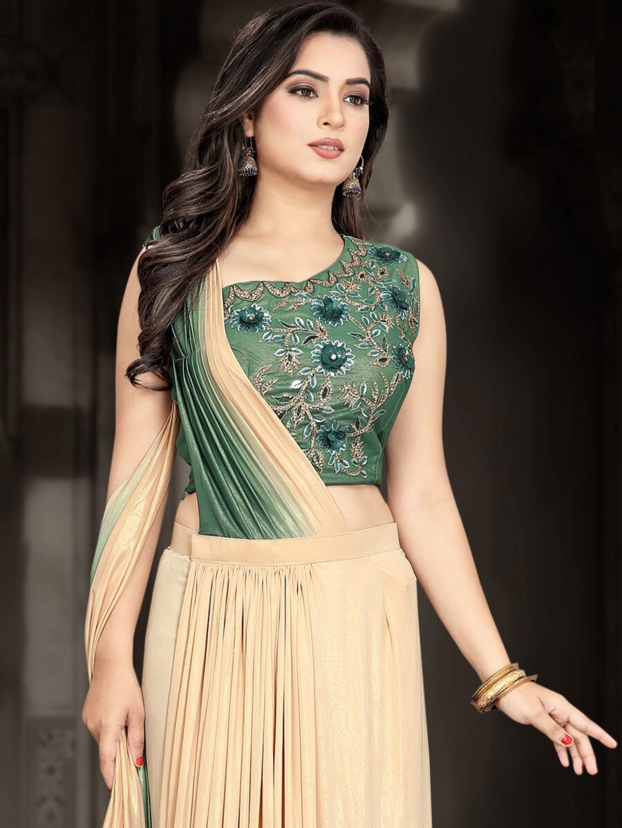Beige and Green Shaded Lycra Pre Stitched Fancy Saree