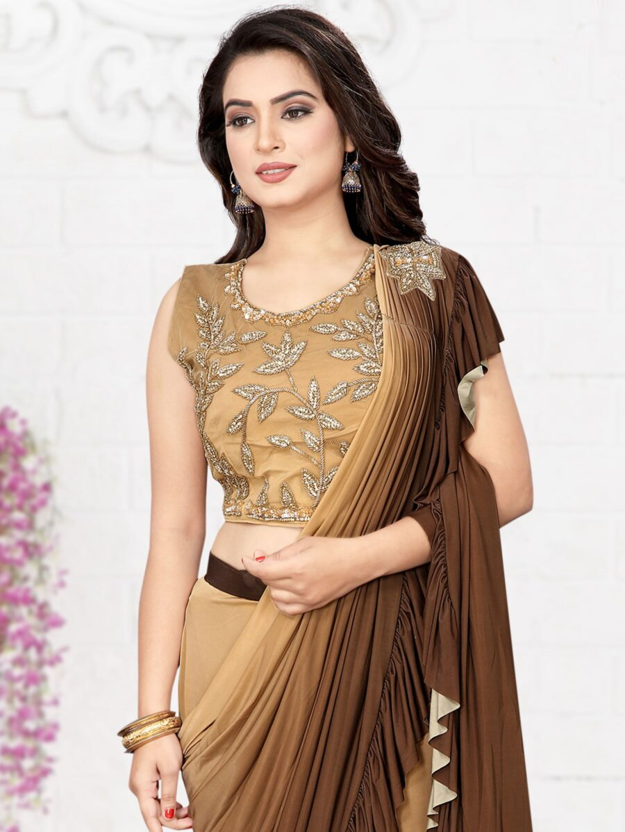 Beige and Brown Shaded Lycra Pre Stitched Fancy Ruffle Saree