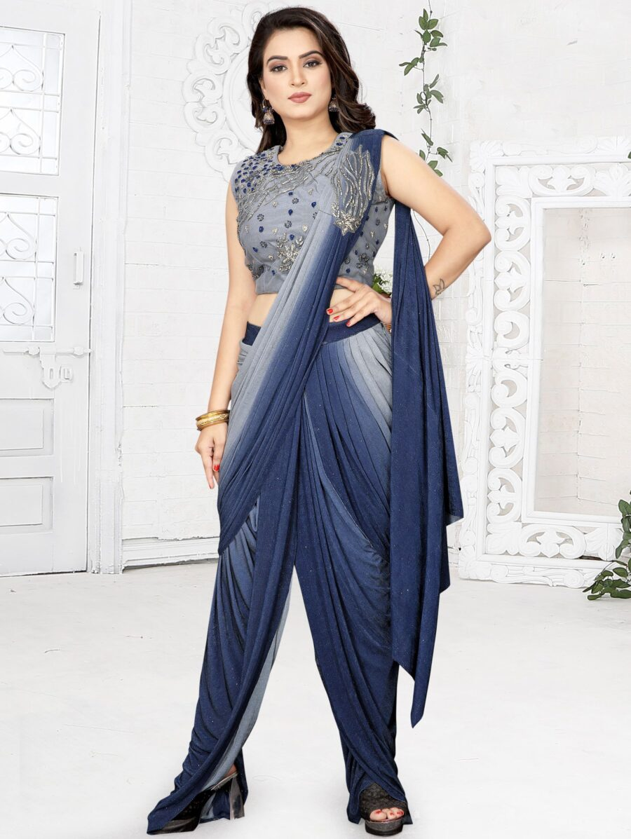 Blue and Grey Shaded Lycra Zari Worked Pre Stitched Fancy Dhoti Style Saree