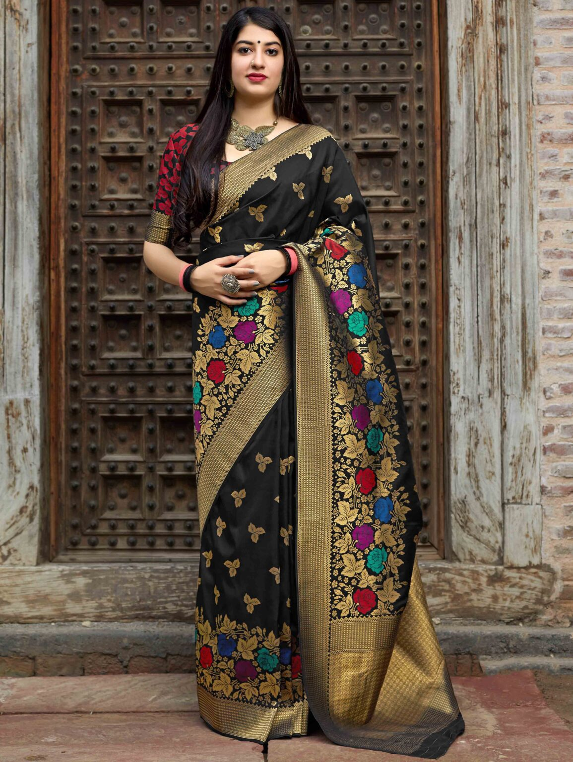 Black Banarasi Silk Traditional Floral Woven Saree with Dull Gold Zari Border and Pallu