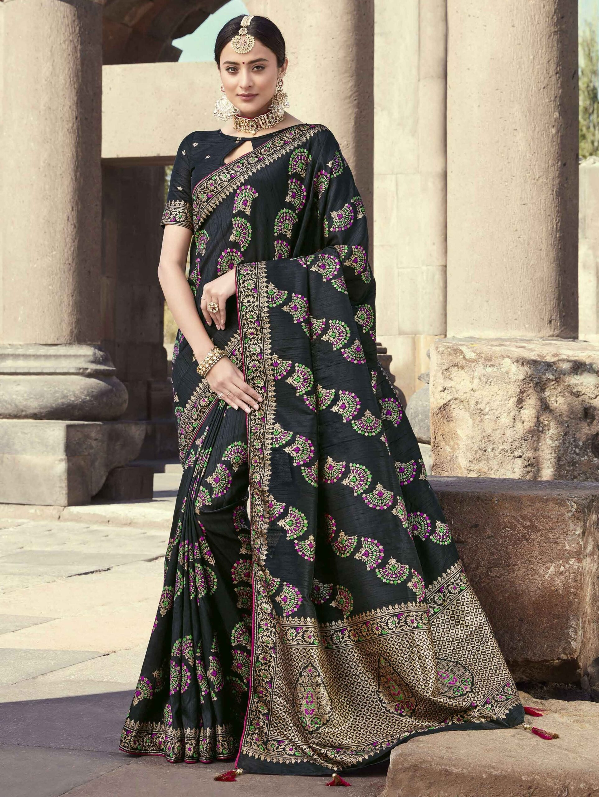 Black Banarasi Silk All Over Woven Saree with Tassels