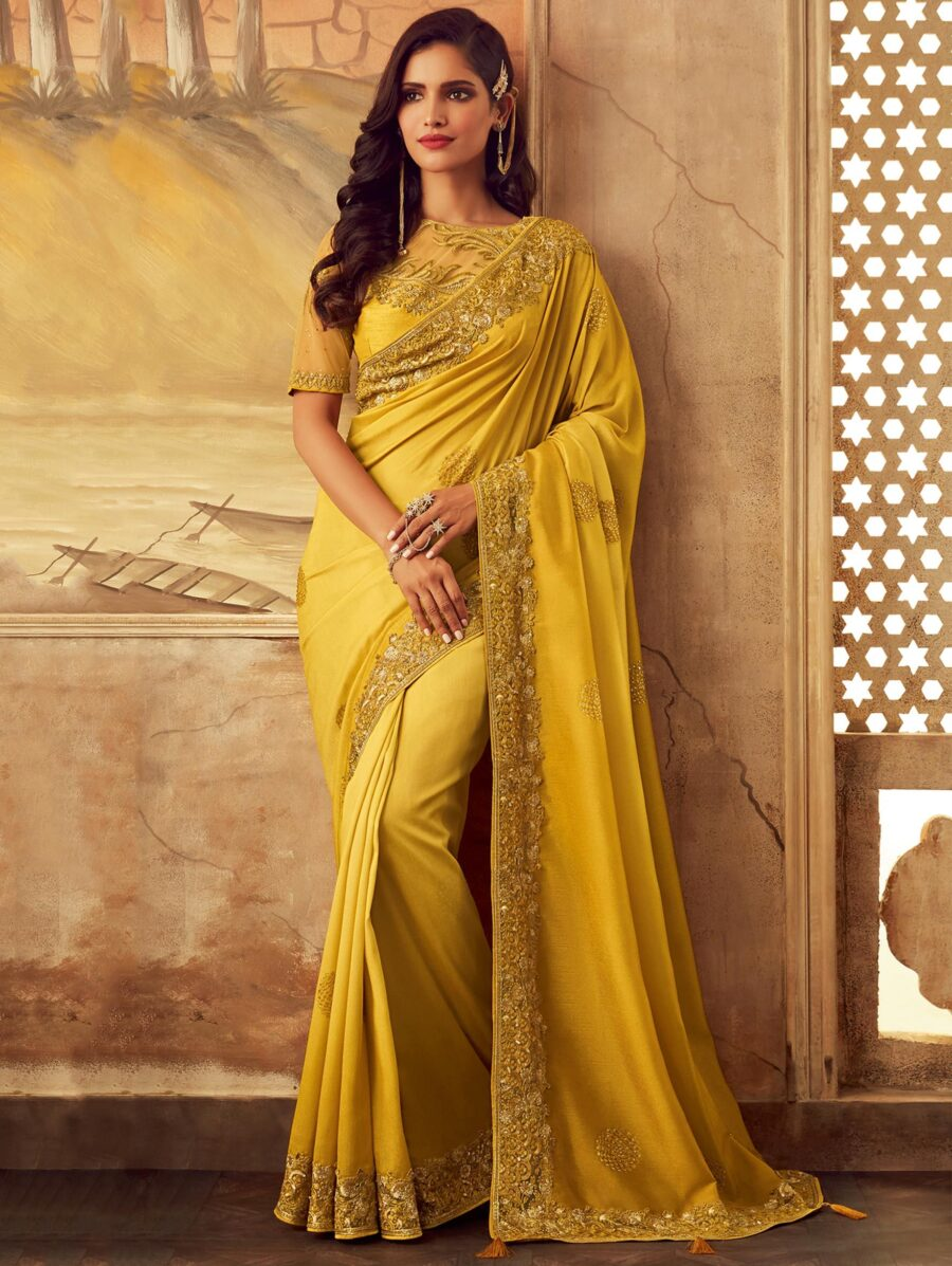 Yellow Silk Embroidered and Sequins Worked Border Saree with Designer Blouse
