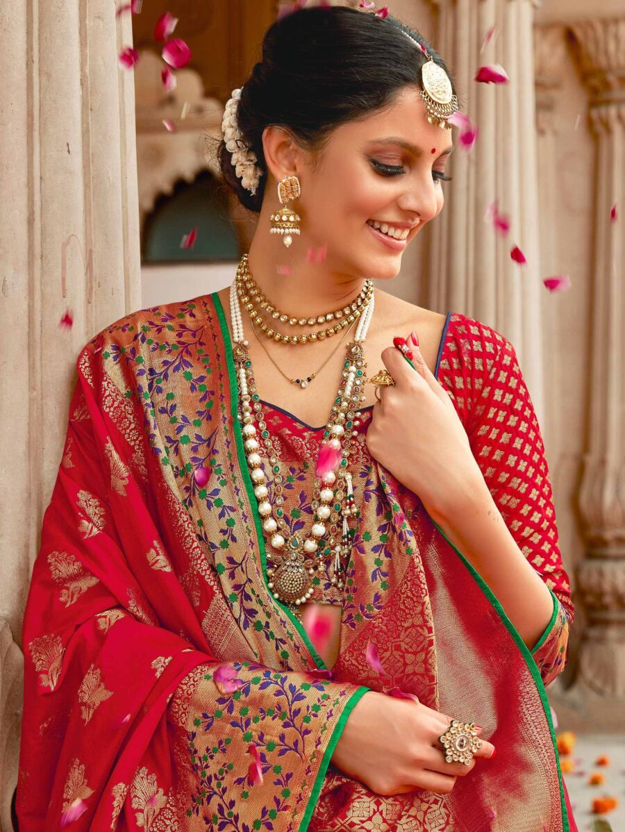 Red Silk Traditional Woven Saree with Golden Highlights