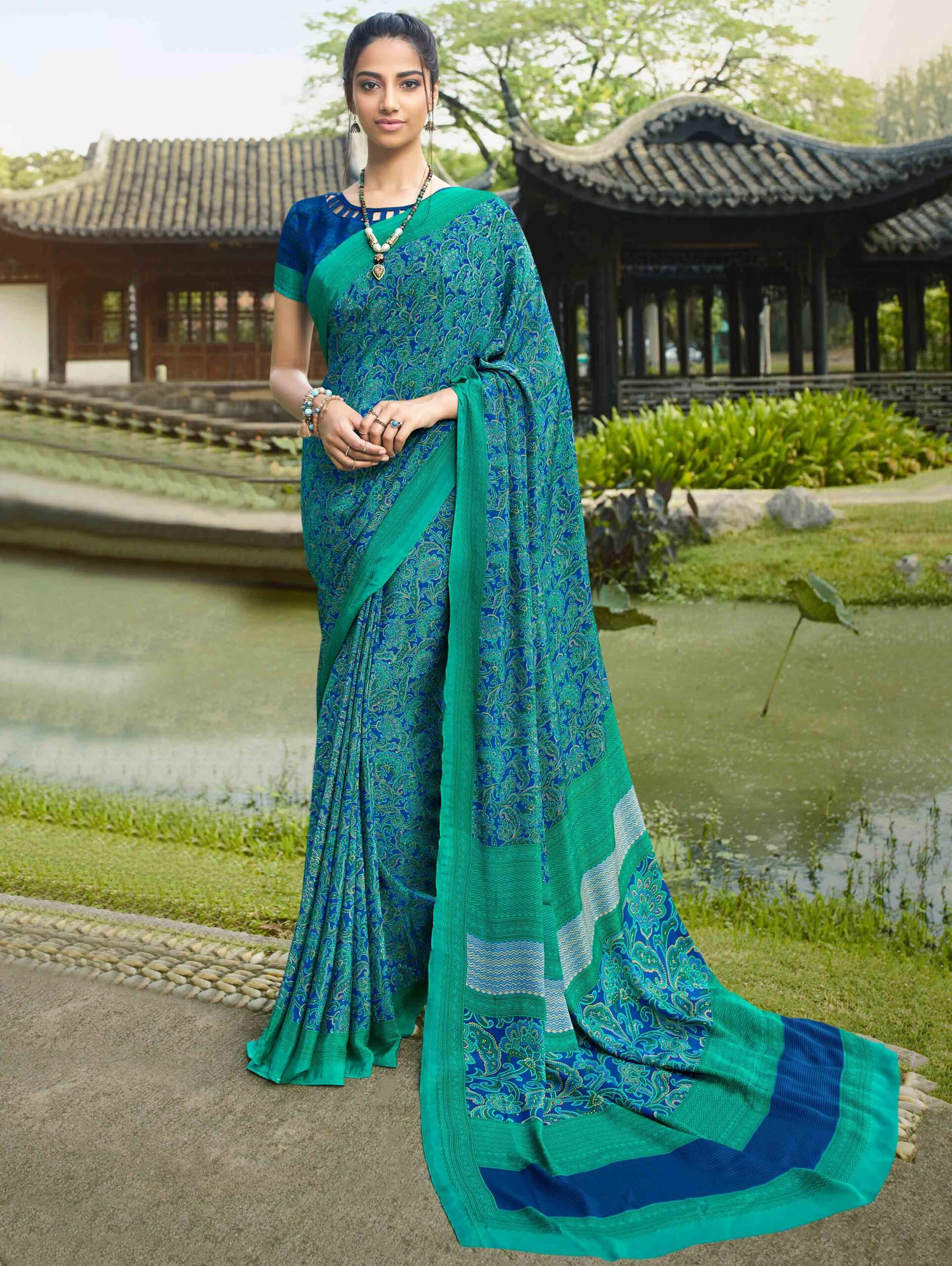 Blue and Teal Green Crepe Printed Saree